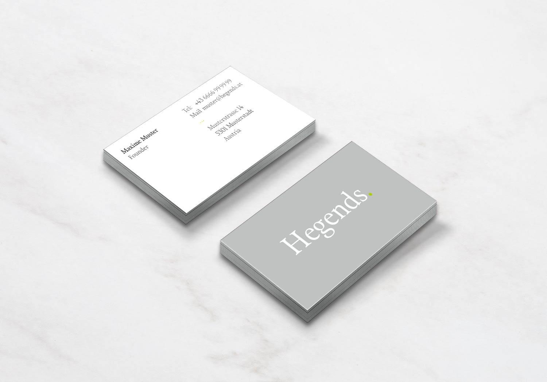 Visitenkarten Hegends, Vorder- und Rückseite