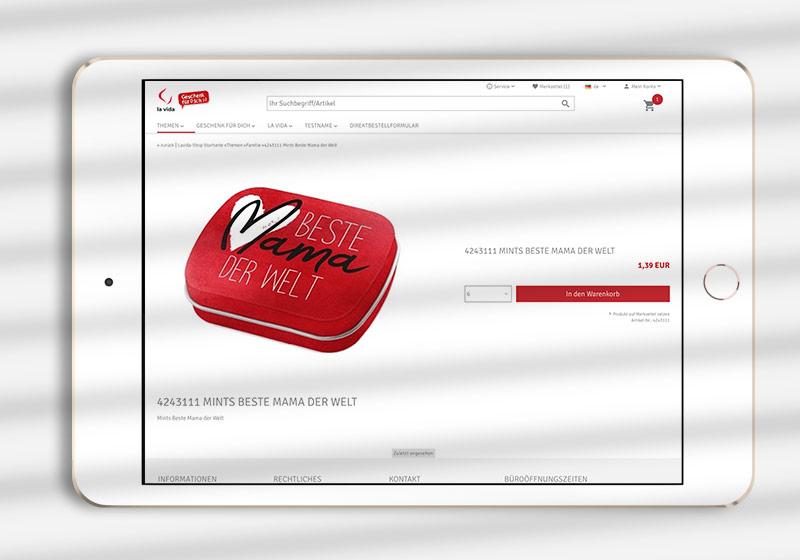 B2B-Shop Detailseite, minimal Design
