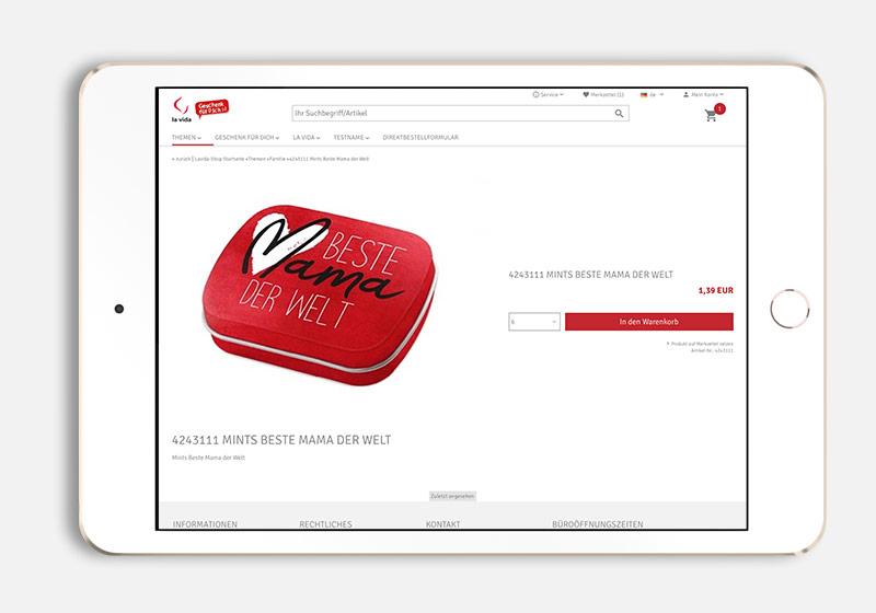 Online Shop Produktseite Design für la Vida