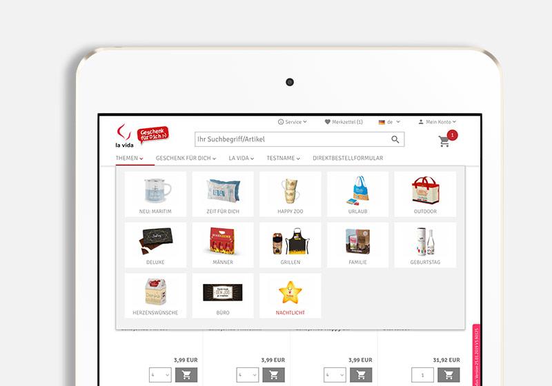 Online Shop Navigation am Tablet mit Fly-Out