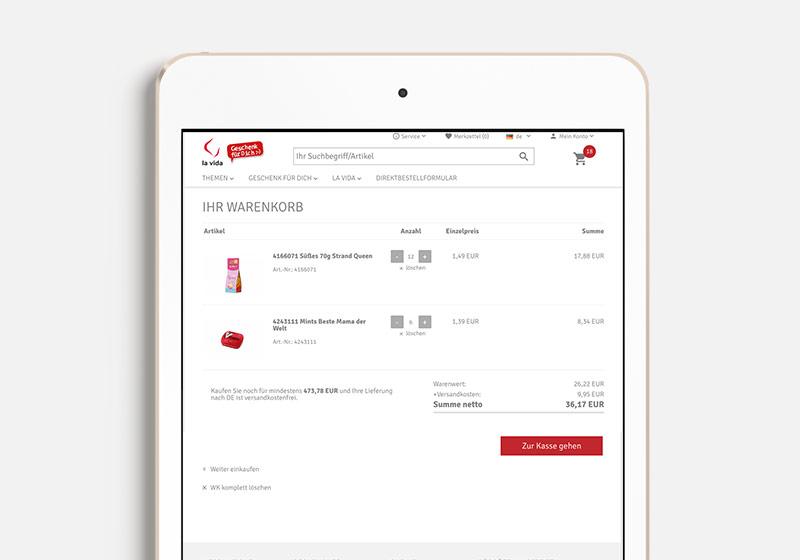 Design eine B2B Warenkorbs