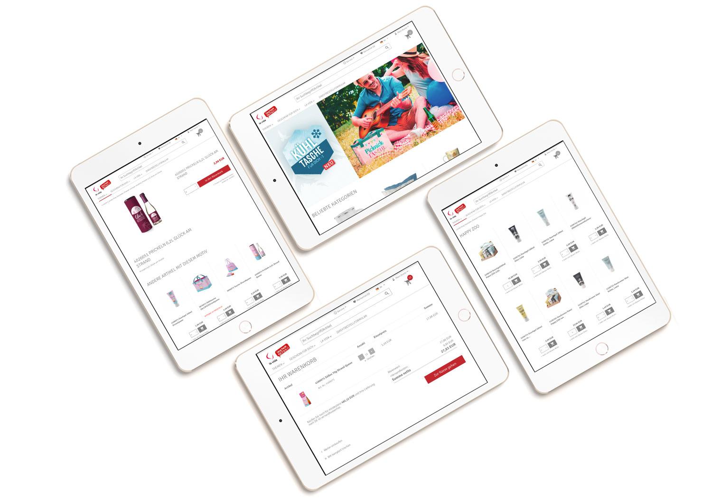 Shop Design verschiedener Seiten am Tablet