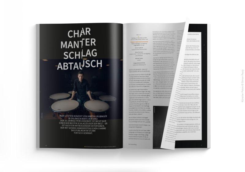 Editorial Design Doppelseite mit auffälliger Typografie