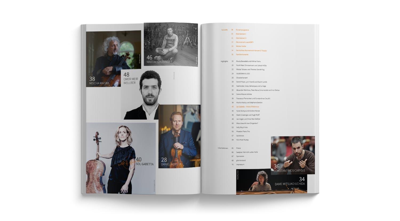 Editorial Design Doppelseite Inhaltsverzeichnis