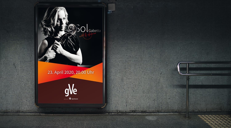 Außenwerbung Plakat für ein Konzert in Erlangen